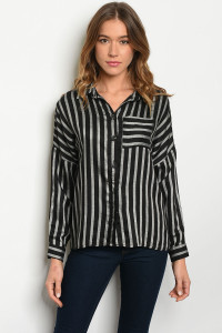 S11-8-3-T7615 BLACK STRIPES TOP 2-2-2