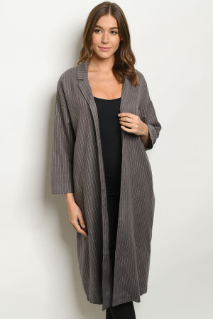 S21-8-3-C42442 GRAY STRIPES COAT 1-2-2-1