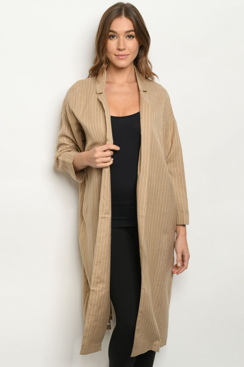 S12-1-2-C42442 KHAKI STRIPES COAT 1-2-2-1