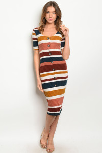 S16-9-2-D18630 RUST MUSTARD STRIPES DRESS 1-2