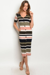 S11-2-2-D18630 OLIVE NAVY STRIPES DRESS 1-2-2-1