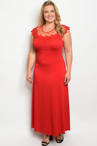 C79-A-2-D6816X RED PLUS SIZE DRESS 2-2-2