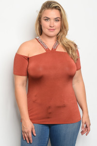 C71-B-2-T6855X CAMEL PLUS SIZE TOP 2-2-2