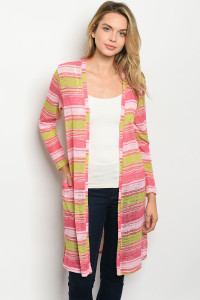 C8-A-1-C0986 PINK LIME STRIPES CARDIGAN 1-2-3