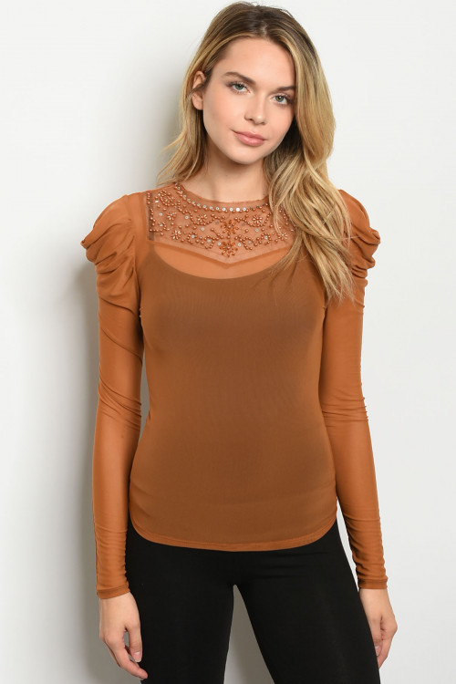 C42-B-3-T4689 CAMEL WITH BEADS TOP 2-2-2  ***WARNING: California Proposition 65***
