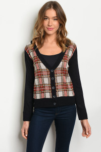S11-8-4-T3535 NAVY CHECKERS TOP 2-2-2