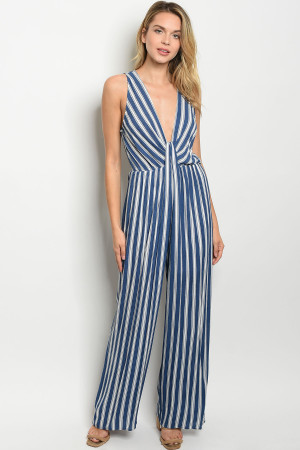 S14-12-5-J8091 BLUE WHITE STRIPES JUMPSUIT 2-2-2