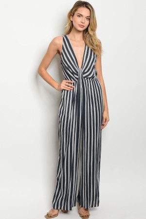 S16-8-5-J8091 NAVY WHITE STRIPES JUMPSUIT 2-2-2