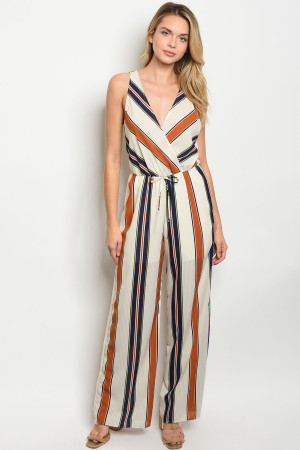 C5-A-7-J7548 IVORY RUST STRIPES JUMPSUIT 2-2-2