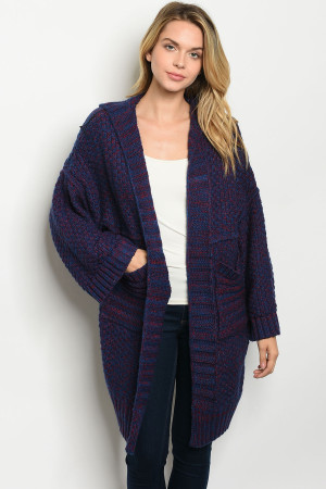 S17-10-1-C7002 ROYAL BLUE RED CARDIGAN 4PCS