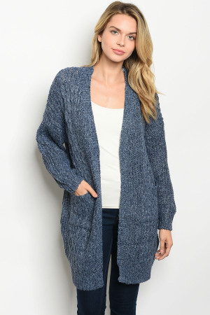 S16-10-1-C7032 METAL BLUE CARDIGAN 4PCS