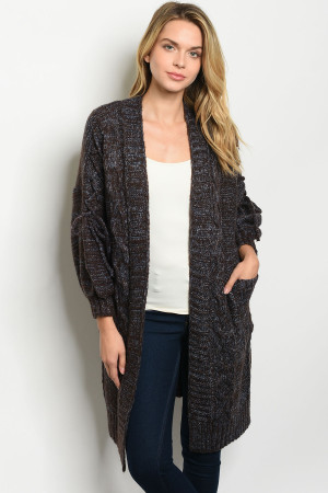 S25-8-1-C7004 BROWN BLUE CARDIGAN 4PCS