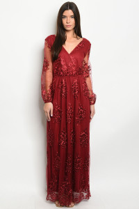S16-5-2-D22938 WINE EMBROIDERY DRESS 2-2-2