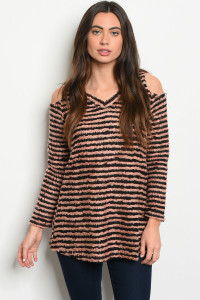 S8-7-4-T8293 MAUVE BLACK STRIPES TOP 2-2-2