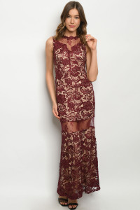 S11-19-2-D2702 BURGUNDY NUDE DRESS 2-2-2