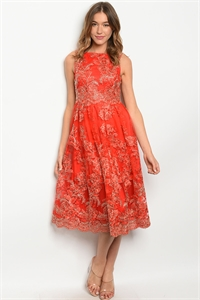 SA3-000-2-D2764 RED GOLD DRESS 2-2-2