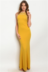 S11-14-2-D2812 MUSTARD WITH STUDS DRESS 2-2-2  ***WARNING: California Proposition 65***