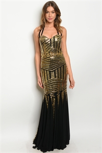 S12-3-2-D3401 BLACK GOLD WITH SEQUINS DRESS 2-2-2  ***WARNING: California Proposition 65***