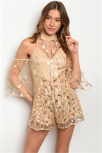 S21-8-1-R2603 CREAM GOLD WITH SEQUINS ROMPER 3-2-2 ***WARNING: California Proposition 65***