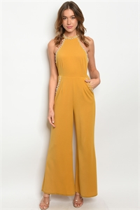 S21-8-1-J2098 MUSTARD WITH PEARLS JUMPSUIT 1-3-2 ***WARNING: California Proposition 65***