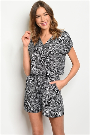 C38-A-7-R1637 BLACK WHITE ANIMAL PRINT ROMPER 2-2-2