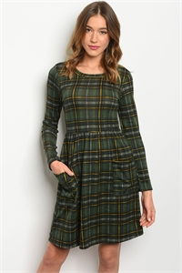 C54-A-5-D14316 GREEN CHECKERED DRESS 2-2-2