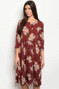 C82-A-5-D0959C WINE WITH FLOWER PRINT DRESS 2-2-2