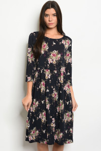 C80-A-3-D0959C NAVY WITH FLOWER PRINT DRESS 2-2-2