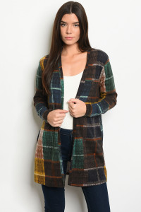 C85-A-1-C0986 MULTI CHECKERED CARDIGAN 1-2-4