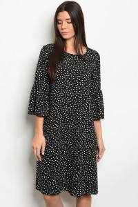 C94-A-2-D0596B BLACK WITH POLKA DOTS DRESS 2-2-2