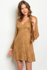 S9-7-1-D2065 MUSTARD PURPLE LEOPARD PRINT DRESS 2-2-2