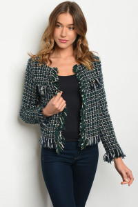 S21-2-5-B60030 GREEN NAVY CHECKERED BLAZER 2-2-2