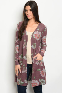S11-3-3-C10521 BURGUNDY WITH FLOWER PRINT CARDIGAN 2-2-2