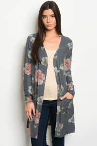 S11-3-1-C10521 NAVY WITH FLOWER PRINT CARDIGAN 2-2-2