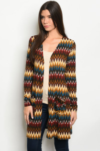 S11-4-4-C10522 BROWN MULTI PRINT CARDIGAN 2-2-2