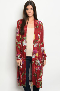 S11-6-3-C51944 BURGUNDY WITH FLOWER PRINT CARDIGAN 2-2-2