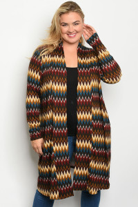 S5-8-2-C51942X BROWN MULTI PRINT PLUS SIZE CARDIGAN 2-2-2