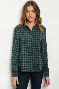 S8-13-1-T69201 GREEN NAVY CHECKERED TOP 2-2-2
