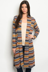 S22-5-5-C51947 MUSTARD MULTI STRIPES CARDIGAN 2-2-2