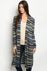 S24-3-2-C51947 NAVY MUSTARD MULTI STRIPES CARDIGAN 2-2-2