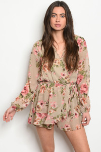 S23-4-3-R20986 TAUPE FLORAL ROMPER 2-2-2