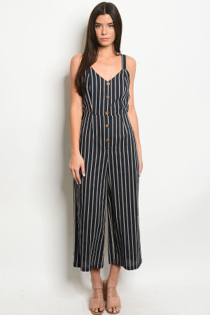 S12-4-4-J1915 NAVY STRIPES JUMPSUIT 3-2-1