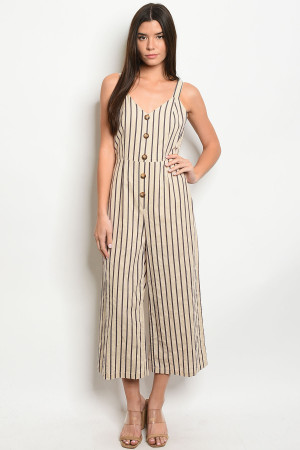 S12-4-4-J1915 TAUPE STRIPES JUMPSUIT 3-2-1