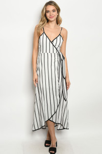 S16-5-3-D1814 OFF WHITE BLACK STRIPES DRESS 3-2-1