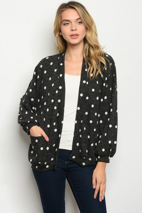 C18-B-3-C1084 BLACK WITH DOTS CARDIGAN 2-2-2