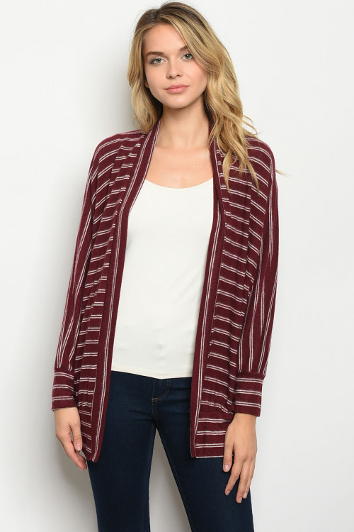 C20-B-2-C1070 BURGUNDY STRIPES CARDIGAN 2-2-2
