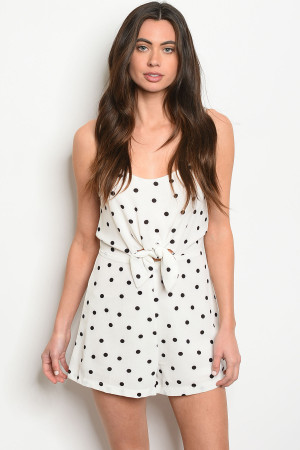 C30-A-4-R6546 OFF WHITE WITH DOTS ROMPER 3-2-1