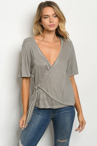 C32-B-4-T14855 OATMEAL BLACK STRIPES TOP 3-2-1
