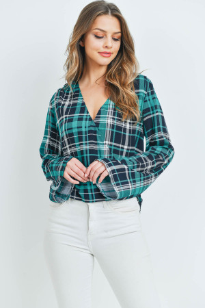 S14-6-2-T13708 JADE CHECKERED TOP 3-2-1