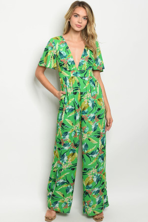 S14-5-1-J53588 GREEN FLORAL JUMPSUIT 1-2-2-1